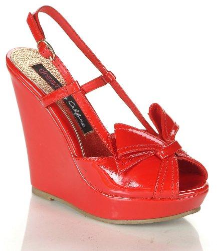 Patent Peep-Toe Platform Slingback Wedge Sandal