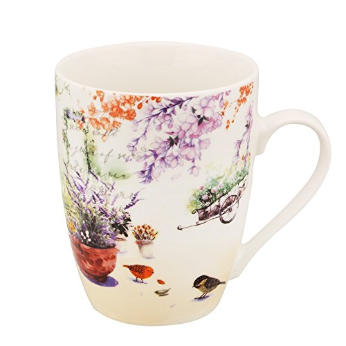 Mallvoler 12oz Mug Ceramic Coffee Cups-Bird & Flowerpot (Pot Cup Coffee Flower)