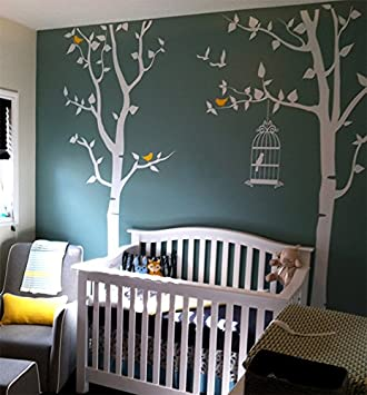 Popdecors Nursery Tree With Personalized Kids Name Custom Beautiful Tree Wall Decals For Kids Rooms Teen Girls Boys Wallpaper Murals Sticker Wall