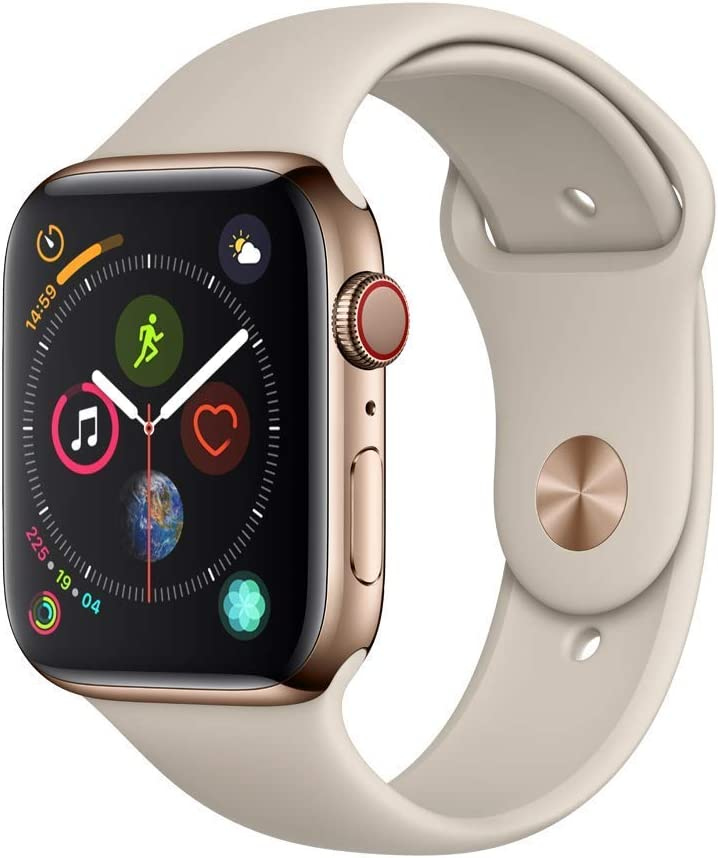 Apple Watch Series 4 (GPS + Cellular, 44MM) - Gold Stainless Steel Case with Stone Sport Band (Renewed)