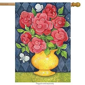 "Fresh ramo primavera casa bandera rosas jarrón Floral 28""X 40Briarwood Lane"