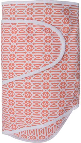 Miracle Blanket Swaddle for Baby Girls, Coral Lattice, Newborn to 14 Weeks