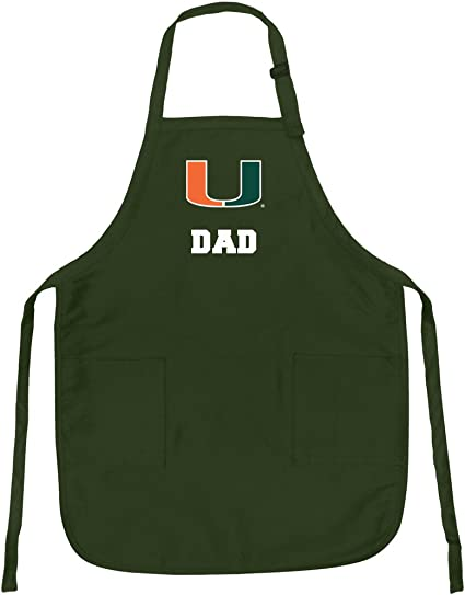 Broad Bay Deluxe University of Miami Dad Apron for Barbecue Grilling Kitchen Gift for HIM or