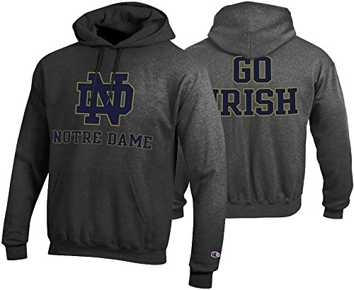 Elite Fan Shop Notre Dame Fighting Irish Mens Hoodie Sweatshirt Charcoal - L