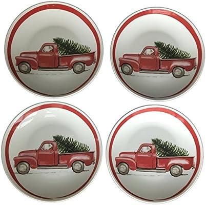 Amazon.com: Rojo camión Árbol de Navidad platos de aperitivo ...
