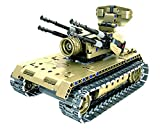 Bo Toys R/C Tank Building Bricks Radio Control Toy, 457 Pcs Military Battle Anti-aircraft Tank Kit with USB Rechargeable Battery, Construction Build It Yourself Toys