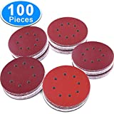 AUSTOR 100 Pieces 8 Holes Sanding Discs, 5 inch Hook and Loop 1000/1200/ 1500/2000/ 3000 Grit Sandpaper Assortment for Random Orbital Sander