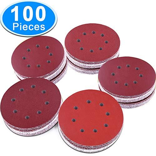 AUSTOR 100 Pieces 8 Holes Sanding Discs, 5 inch Hook and Loop 1000/1200/ 1500/2000/ 3000 Grit Sandpaper Assortment for Random Orbital Sander by AUSTOR