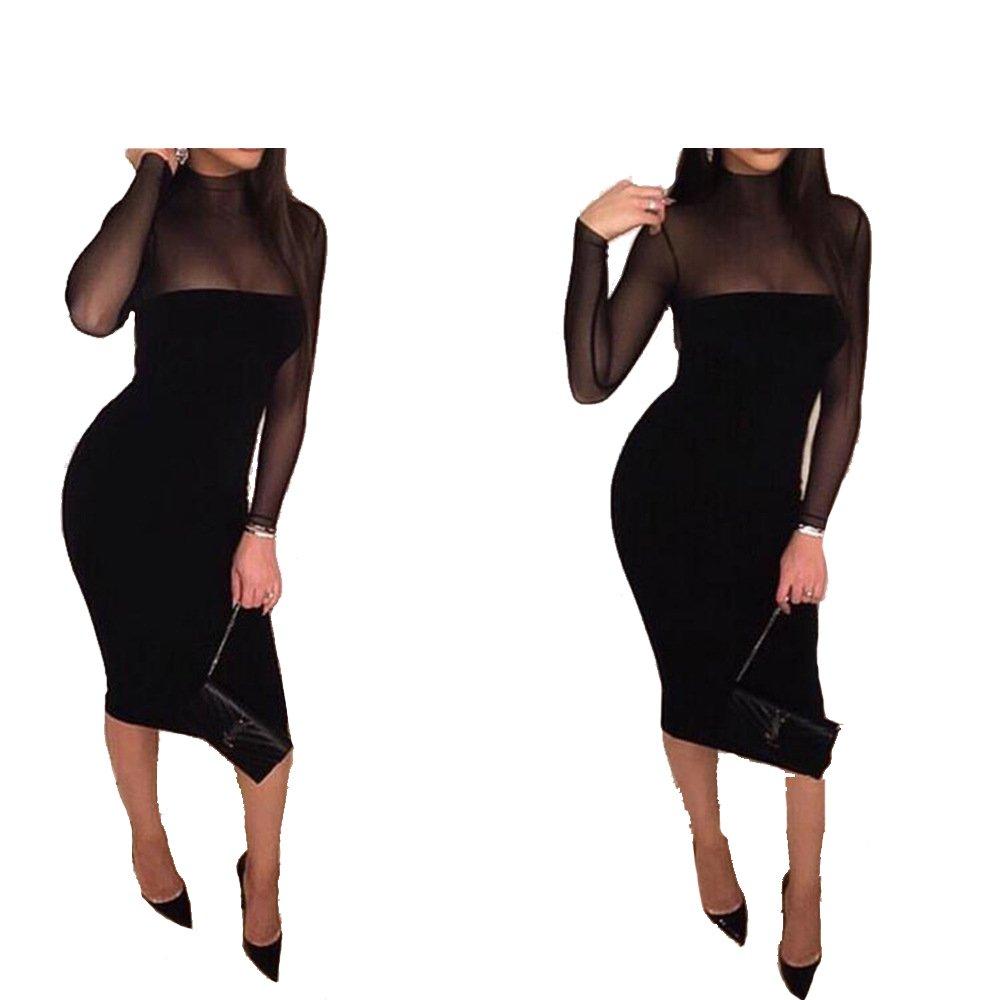 8b803f03320bb8 Amazon.com  Women s Long Sleeve Sexy See-through Bandage Dress Night Club  Dress One Piece Only  Clothing