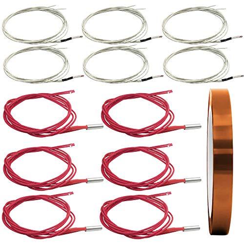 AFUNTA 12 PCS 12V 40W 620 Calentador de cartucho cerámico y termistor NTC 100K 3950 Adaptador de impresora 3D y calor Cinta...