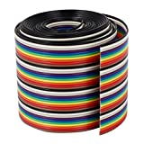 Uxcell a16030200ux0389 Ribbon IDC Cable Wire Rainbow Cable Flat Color Rainbow, 2 m, 6.6', 40 Way, 40 Pin