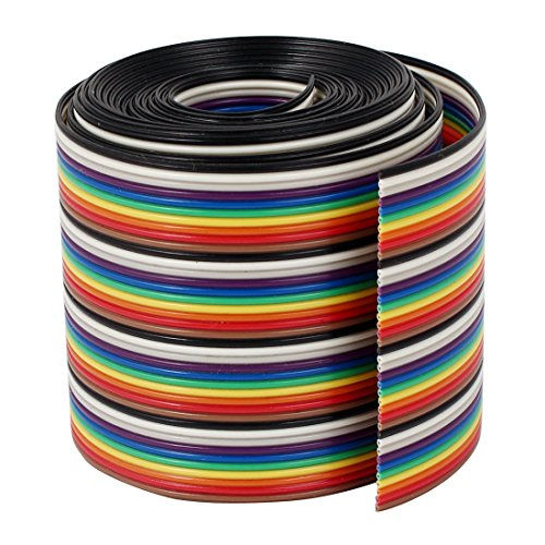 Uxcell a16030200ux0389 Ribbon IDC Cable Wire Rainbow Cable Flat Color Rainbow, 2 m, 6.6', 40 Way, 40 Pin by uxcell
