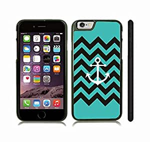Case Cover For Apple Iphone 4/4S with Chevron Pattern Stripe Turquoise Anchor Black Snap-on Cover, Hard Carrying Case (Black)