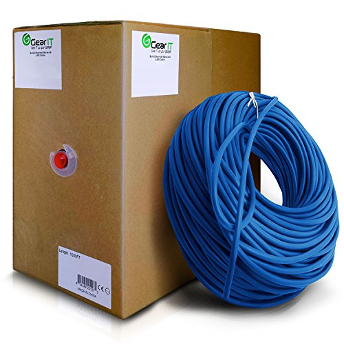 GearIT Cat5e Ethernet Cable Bulk 1000 Feet - Cat 5e 350Mhz 24AWG Full Copper Wire UTP Pull Box - In-Wall Rated (CM) Stranded Cat5e, Blue (1000 Foot Cat5e 350mhz Cable)