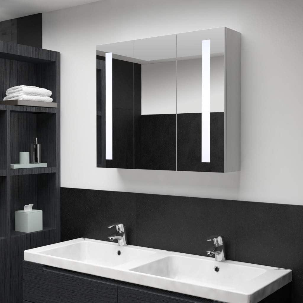 Festnight Armario de Cuarto de Baño con Espejo y LED Armario de Baño Organizador Armario Espejo Baño Armario de Pared con 3 Puertas 89x14x62 cm