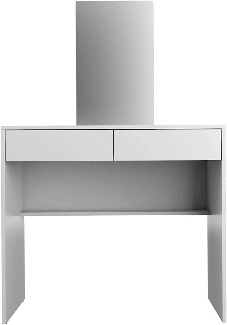 Boahaus Contemporary Vanity Set Dressing Table with Mirror, 2 Drawers, White White