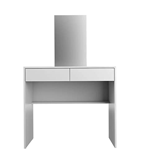 Boahaus Contemporary Vanity Set Dressing Table with Mirror, 2 Drawers, White