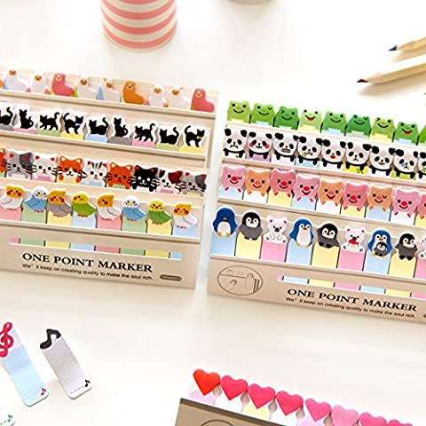 3 Pcs Free 3 Pcs Cartoon animal memo paper One point marker sticky notes stationery office supplies School supplies 6783 (Random (Clear Post It Pockets)