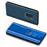 Samsung Galaxy S9 Case,IKASEFU PU Leather Electroplate Plating Stand PC Mirror Flip Folio Case Cover Protective Ultra Slim Thin Full Body Protective Case Cover for Samsung Galaxy S9,Blue