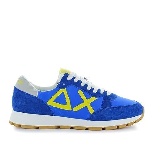 Men's Shoes Sun68 Track Big Logo Blue/Yellow Sneaker Spring Summer 2018
