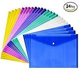 JUSLIN Poly Envelope Folder with Snap Button Closure, 24PCS Waterproof Transparent Project Envelope Folder, A4 Letter Size