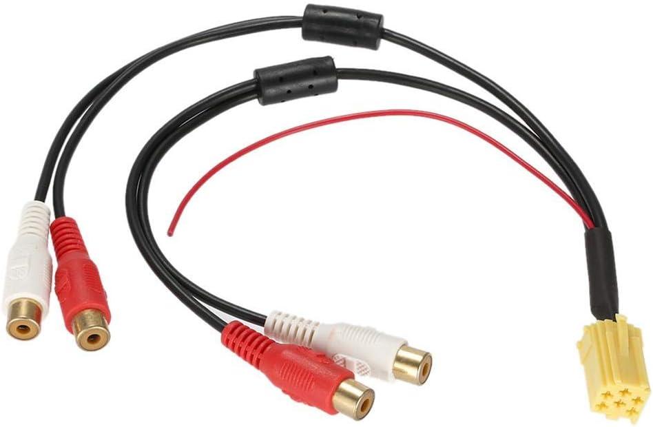 C/âble audio de voiture Adaptateur audio de voiture populaire Mini adaptateur ISO /à 6 broches Aux sortie de ligne 4 prise Kabel 4 RCA