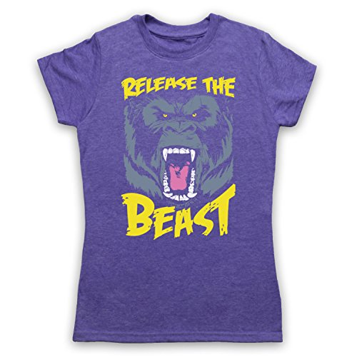 Release The Beast Gym Workout Slogan Camiseta para Mujer Morado Clásico