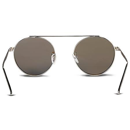 NYKKOLA Retro polarizadas espejo redondo lentes marco de metal moda mujeres gafas de sol UV400, silver frame and blue lens