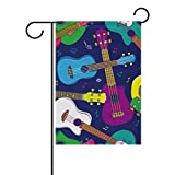 Cheap My Daily Hawaiian Ukulele Pop Colorful Decorative Double Sided House Flag 28 x 40 inch
