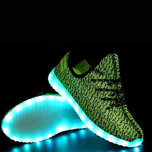 Gris UK6 Zapatillas Talón Tulle Redonda Rojo EU39 Otoño Gris CN39 Comfort Zapatos Punta Primavera para Novedad LED Zapatos con US8 Cordones ZHZNVX Unisex Plano Verde Caminar xq01S6