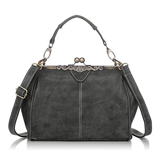 Women Retro Leather Large Fashion Tote Purse Top Handle Handbag Crossbody Shoulder Bag for Ladies Grey (Retro Purse Handbag)