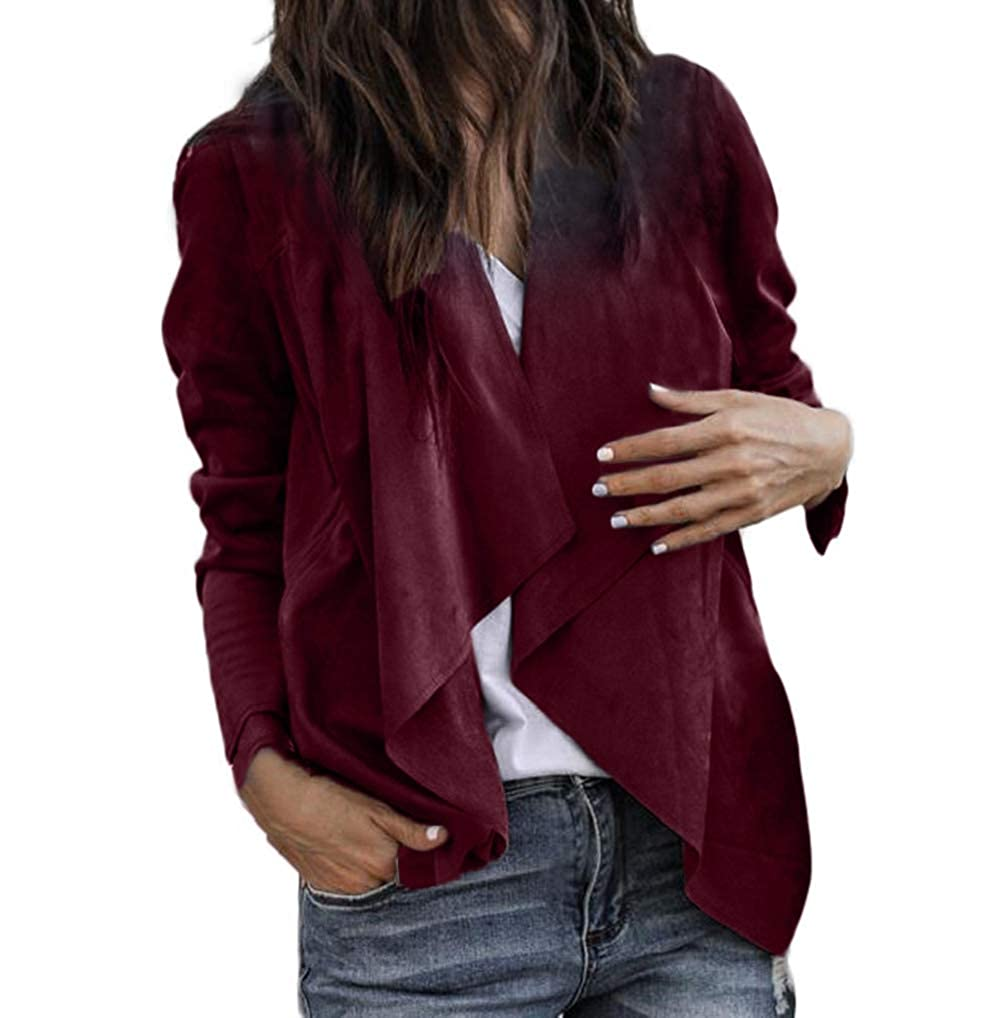 Womens Coat Jacket TUDUZ Autumn Long Sleeve Faux Suede Leather Open Front Short Cardigan Suit Solid Waterfall Turn-Down Collar OL Work Office Cardigan Coat