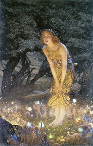 Vintage Reproduction Print Fairy Garden Midsummer Eve 1908