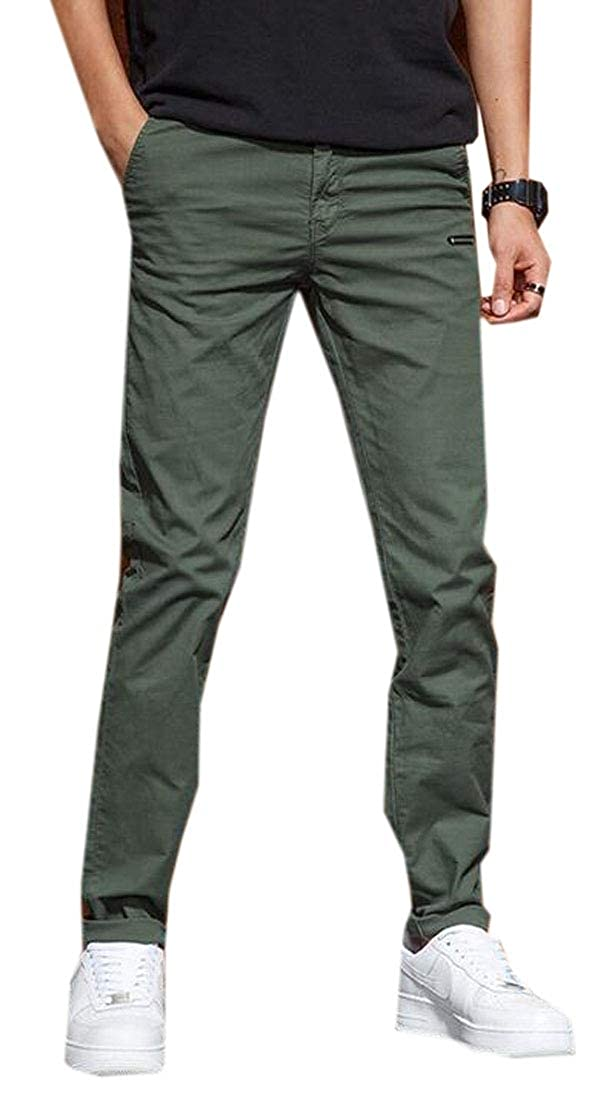 Fubotevic Men Casual Straight Leg Slim Fit Rugged Pure Color Cargo Pants