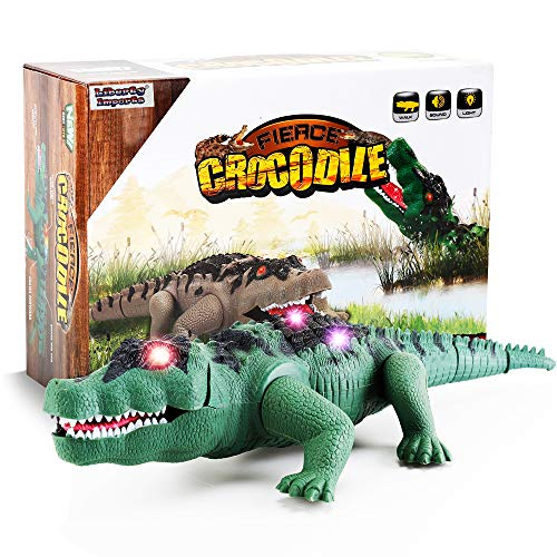 Liberty Imports Crocodile Toy Battery Operated 16 inches Alligator with Moving Jaws, Lights and Realistic Sound