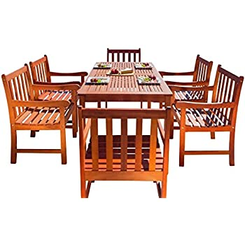 Malibu V98SET12 Eco Friendly 7 Piece Wood Outdoor Dining Set With Slatted  Back Armchairs
