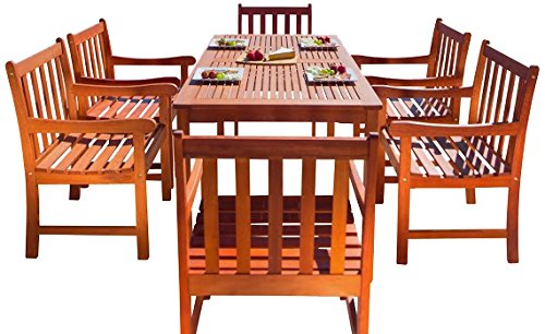 Malibu V98SET12 Eco-Friendly 7 Piece Wood Outdoor Dining Set with Slatted Back Armchairs by Malibu