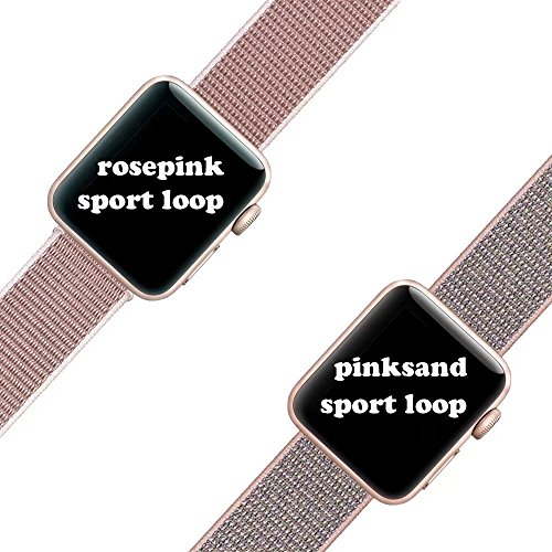 For Apple Watch Band,Yunsea New Nylon Sport Loop with Hook and Loop Fastener Adjustable Closure Wrist Strap Replacment Band for iwatch,38mm,Pink Sand by Yunsea (Image #5)