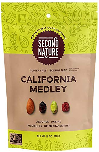 Second Nature California Medley Trail Mix - Healthy Nuts Snacks Blend - 12 oz Resealable Pouch