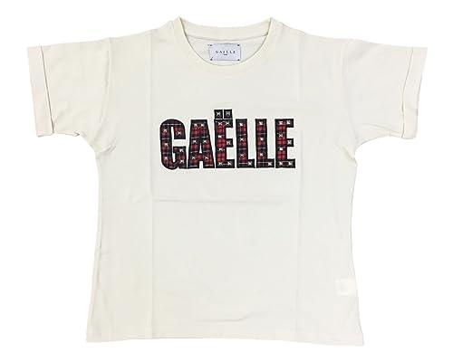 T-shirt jersey con applicazione scritta in tartan e borchie sul davanti Gaelle Paris