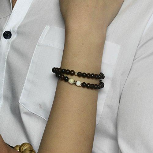Agar Creations - Tibetan Buddhist Mala Bracelet - Tridacna and Agarwood 52-Bead Bracelet - Spiritual, Meditation by Agar Creations (Image #2)