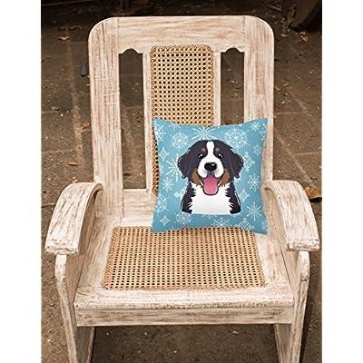 Caroline's Treasures BB1671PW1414 Snowflake Bernese Mountain Dog Fabric Decorative Pillow, 14Hx14W, Multicolor : Garden & Outdoor