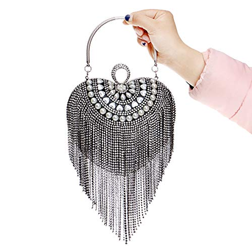 Shape Bridal Prom Purse Color Beaded Cocktail Handbag Black Wedding Clutch Bridal bag Evening Clutch Drill Evening Long Tassel Black Box for with Heart Bag Handbag Party Xuanbao Bag Women's Prom YgTFg