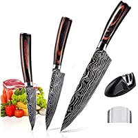AUSELECT 3-Pack Chef Santoku Knives - Kitchen Knife Set in Gift Box, German Carbon Stainless Steel, Razor Sharp Blades…