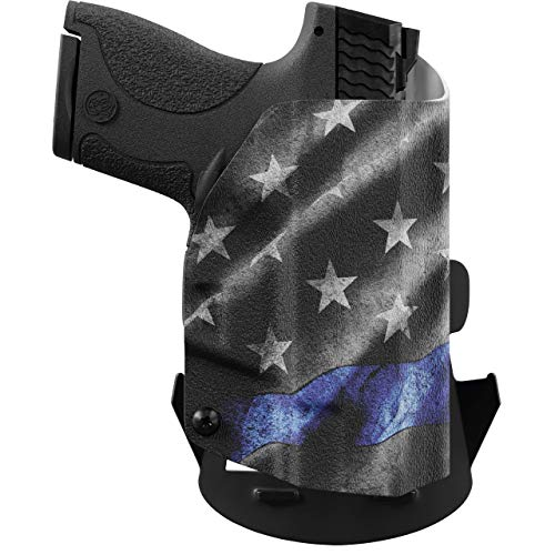 We The People - OWB Holster Compatible with Taser Pulse Gun - Outside Waistband Concealed Carry Kydex Holster (Right Hand, Thin Blue Line)