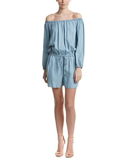 a65869d908baec Two by Vince Camuto Women s Long Sleeve Off The Shoulder Indigo Tencel  Romper Vintage Large