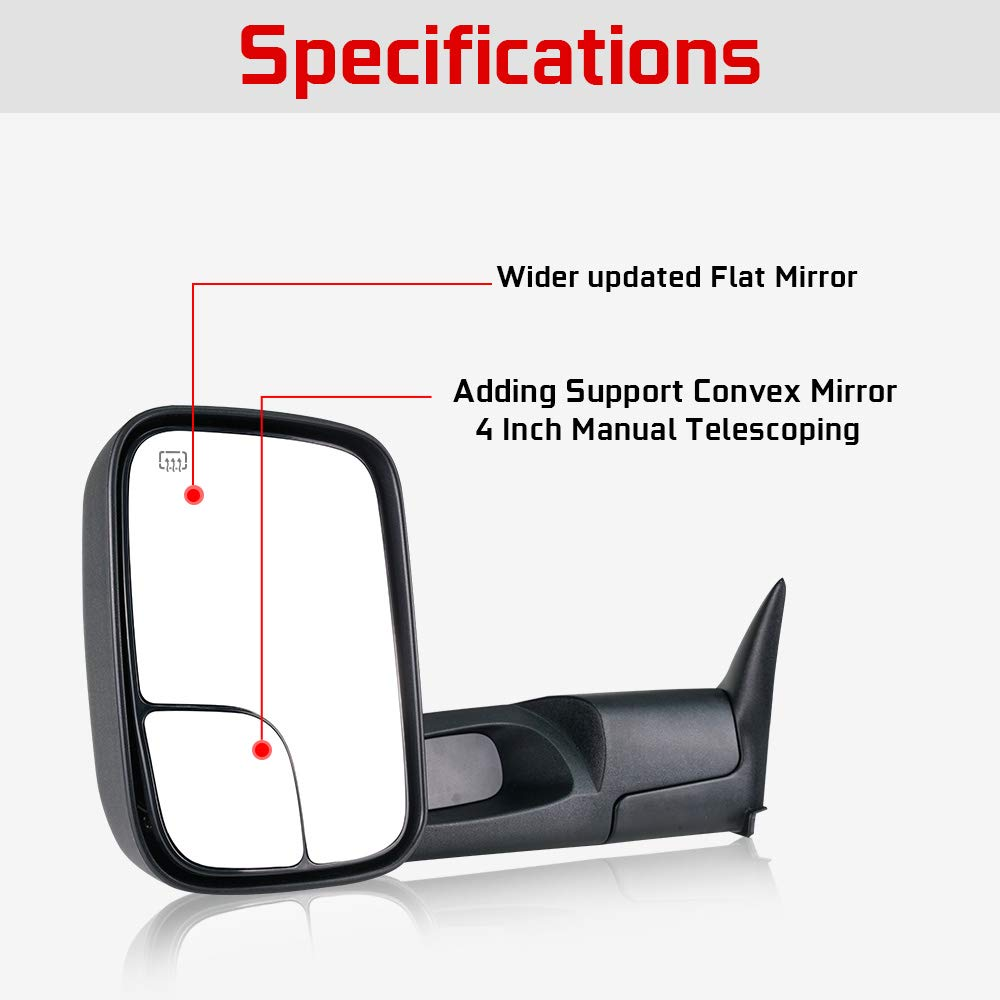 Spead-Vmall DOT Approved Towing Mirrors Side View Tow Mirrors For 2007-2014 Ford F150 w//Power Heated And Yellow Turn Signal Puddle Light