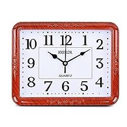 ZRDMN Wall clock Mute calendar living room quartz desk pendulum clock office bedroom calendar 10 inches (diameter 25.5 cm), mahogany Wall clock
