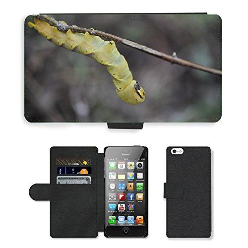 Just Phone Cases PU Leather Flip Custodia Protettiva Case Cover per // M00129018 Mao Maoè?² Pet énorme Caterpillar // Apple iPhone 5 5S 5G
