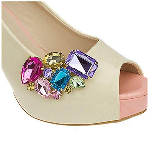 - Casualfashion Shining Crystal Shoes Clip Women's High Heel Rhinestone Shoe Buckle Decoration,1 Pair (11#)